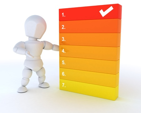 3D render of a man with a to do list photo