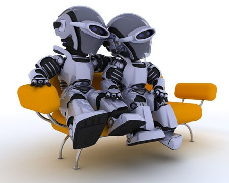 3D render of a robots sitting on a sofa Stock Photo - 12397394