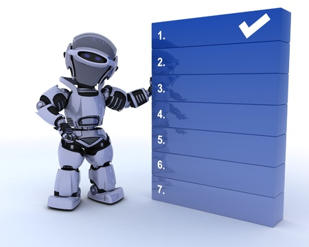 3D render of a robot with a to do list