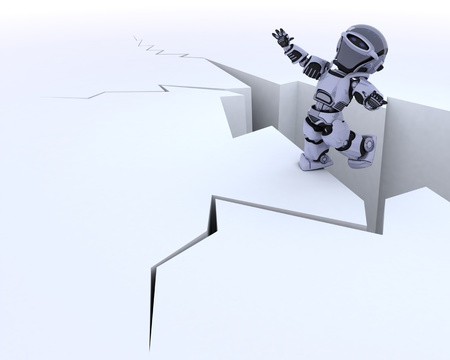 cliff edge: 3D render of a robot on a cliff edge