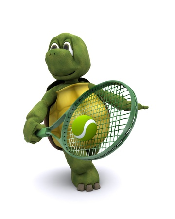 3D render of a  tortoise playing tennis Stock Photo - 12397382