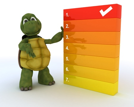 3D render of a tortoise with a todo list photo