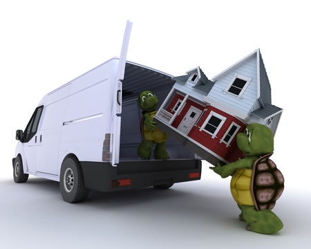 3D render of a tortoises loading a house into a house into a van