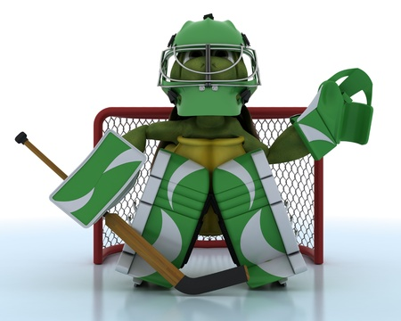 icehockey: 3D render of a tortoise playing ice hockey