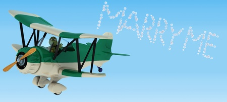 3D render of a tortoise flying a biplane sky writing photo