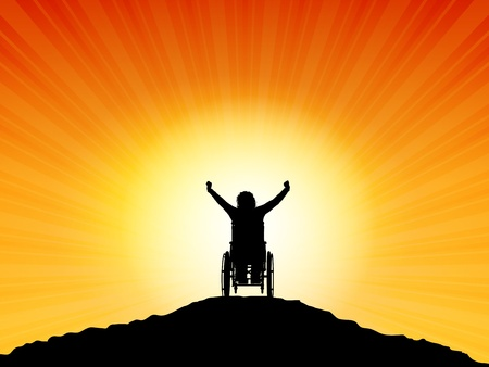 Silhouette of a woman in a wheelchair with her arms raised in success