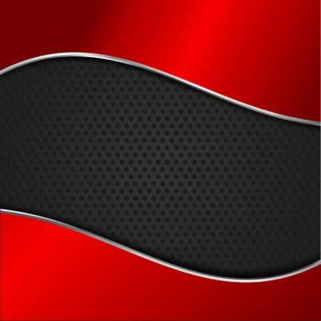 Perforated metal background with glossy red background Stock Photo