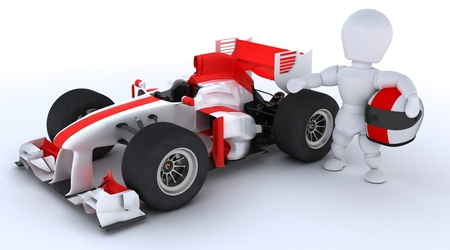 3D render of a man with race car photo
