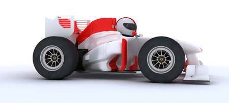 formula one car: 3D render of a man with race car Stock Photo