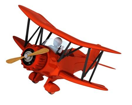 3D render of a man flying a vintage biplane Standard-Bild