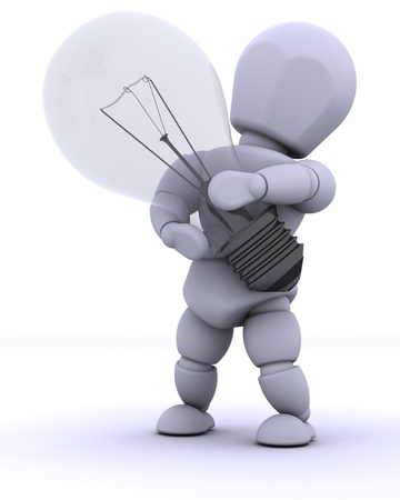 3D render of man with light bulb photo