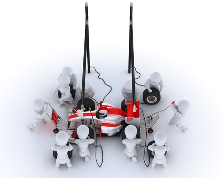 3D Render of a Race car pit stop Standard-Bild