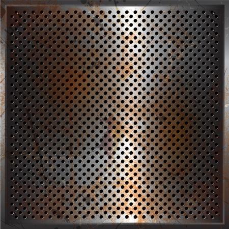 oxidado: Fondo de metal perforado con una textura oxidada del grunge
