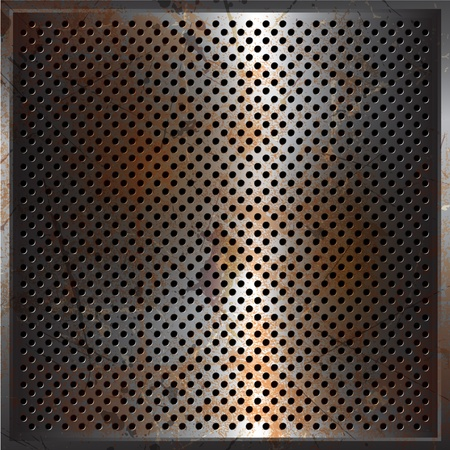 rusty metal: Perforated metal background with a grunge rusty texture