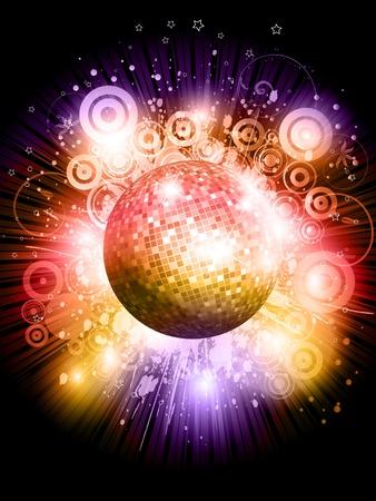 Mirror Ball: Glittery mirror ball on an abstract starburst background