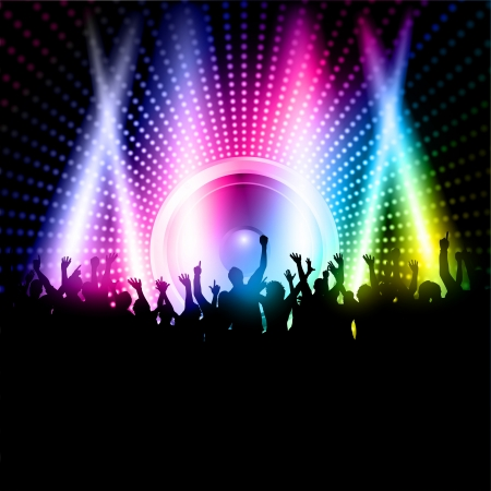 Silhouette of an excited party crowd on a music speaker background