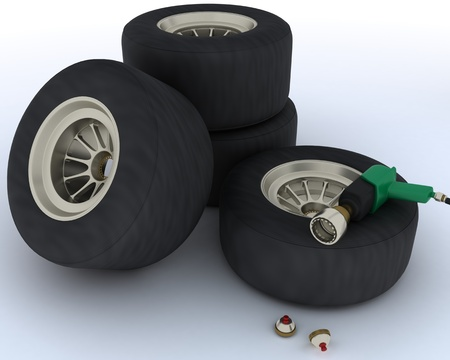 pit stop: 3D render of race car tyres for pit stop Stock Photo