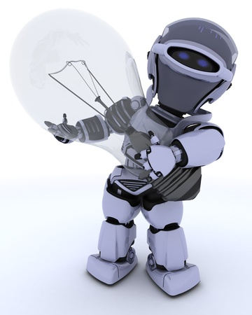 3D Render of a Robot with light bulb photo