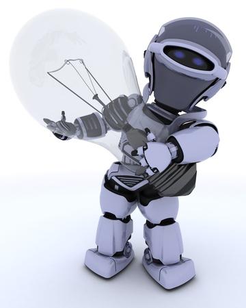 robot: 3D renderowania z robota z żarówką