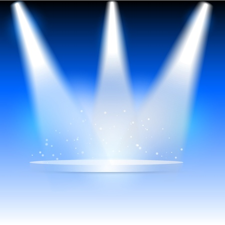 stage lights: Illustration of three spotlights highlighting a blank podium Stock Photo