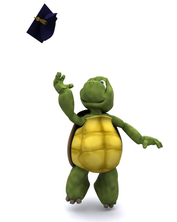 3d render of a tortoise celebrating graduation photo