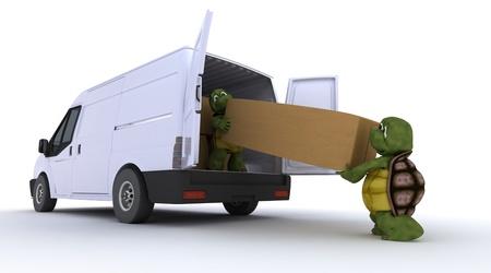 removal van: 3D render of a tortoises loading a van