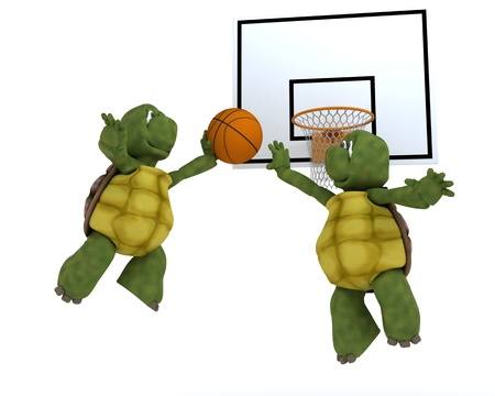 3D render of a tortoises playing basket ball photo