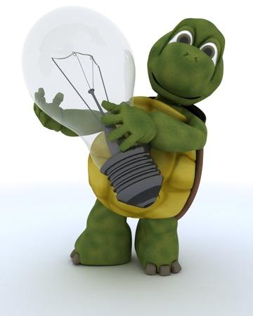 tortuga: 3D render de una tortuga con bombilla Foto de archivo