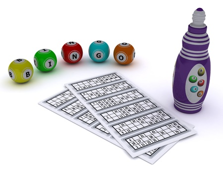 bingo: 3D render of a Bingo balls and card with dabber pen Stock Photo