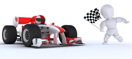 3D render of a Man in Race car winning at chequered flag Standard-Bild