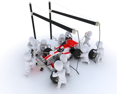 3D Render of a Race car pit stop photo