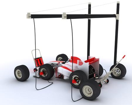 pit stop: Render 3D de una parada de boxes carrera de coches Foto de archivo