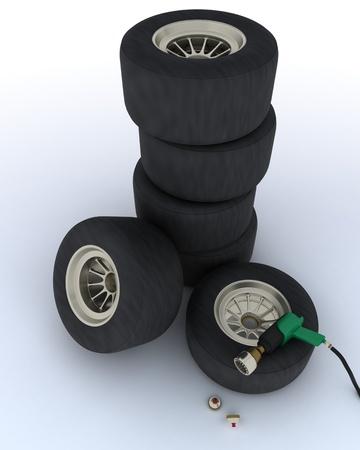 pit stop: 3D hacen de neum�ticos de coches de carreras de parada en boxes Foto de archivo