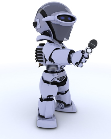 chrome man: 3D render of a Robot reporter with a microphone Stock Photo