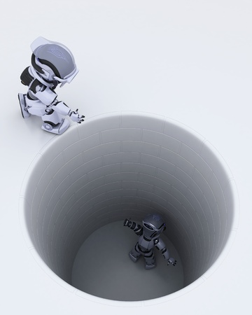 3D render of a robot stuck in a hole metaphor Stock Photo - 13175397