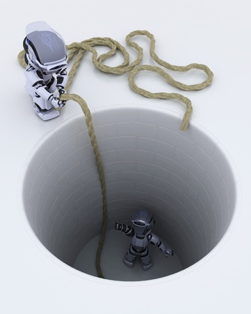 3D render of a robot stuck in a hole metaphor Stock Photo - 13175401