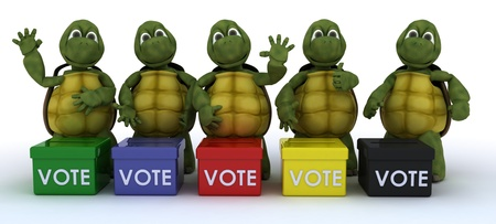 voter: 3D render of tortoises canvasing for votes in election