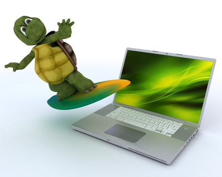 3D render of a tortoise with surf board and laptop photo
