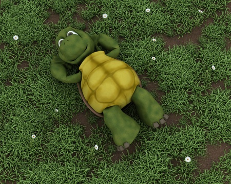 3D render of a tortoise lying on grass in flowers