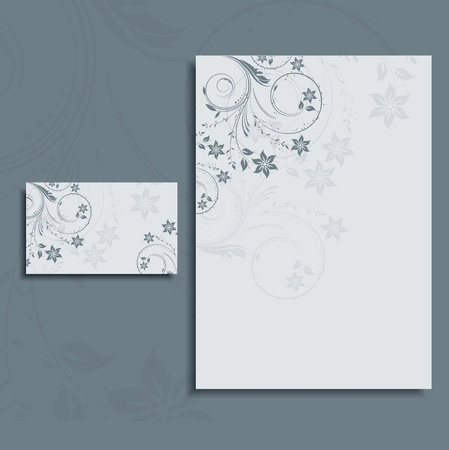 Floral design layout for a letterhead and business card  photo