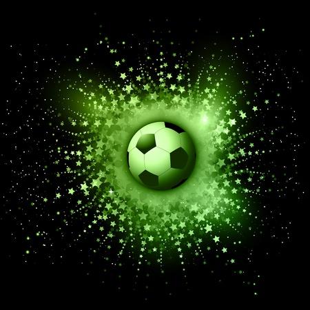 balon de futbol: Balón de fútbol sobre un fondo abstracto explosión de la estrella Foto de archivo