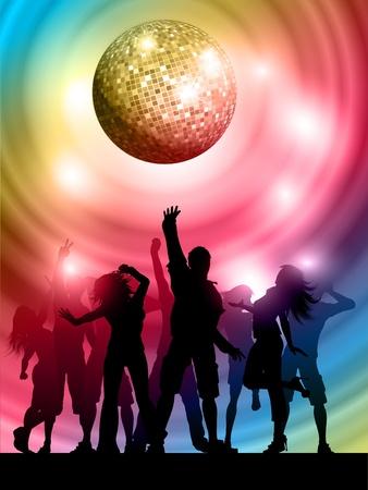 gente bailando: Siluetas de personas bailando en un fondo de colores Foto de archivo