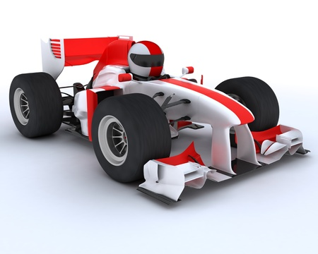 formula one: 3D render of a man with race car Stock Photo