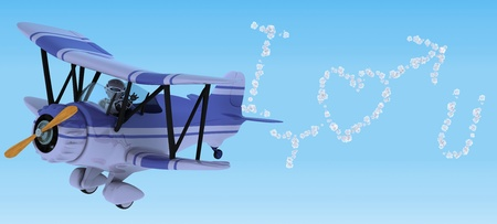 3D render of a robot flying a biplane sky writing Stock Photo - 13306280