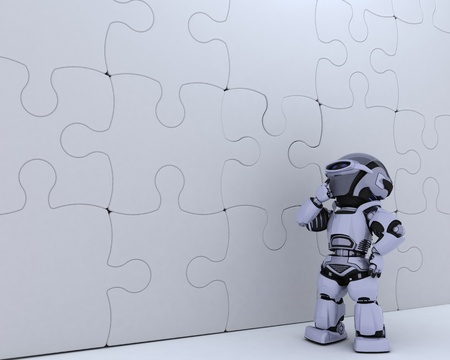3D render of a Robot with jigsaw puzzle business metaphor photo
