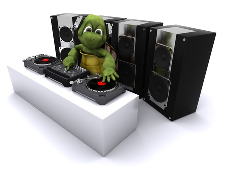 3D render of a tortoise DJ mixing records on turntables Stock Photo - 13306218