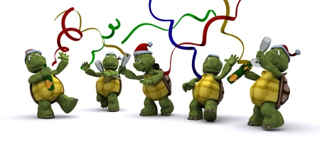 3D render of a tortoises celebrating at a christmas party photo