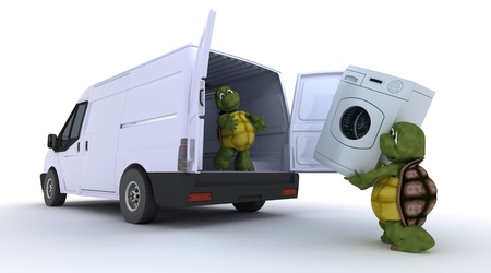 3D render of a tortoises loading a washing machine into a van photo