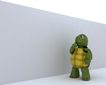 carapace: 3D render of a tortoise with jigsaw puzzle Stock Photo