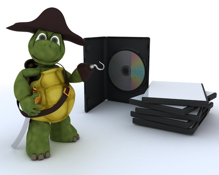 3D render of a Pirate Tortoise with DVD CD and Software Stock Photo - 13306230
